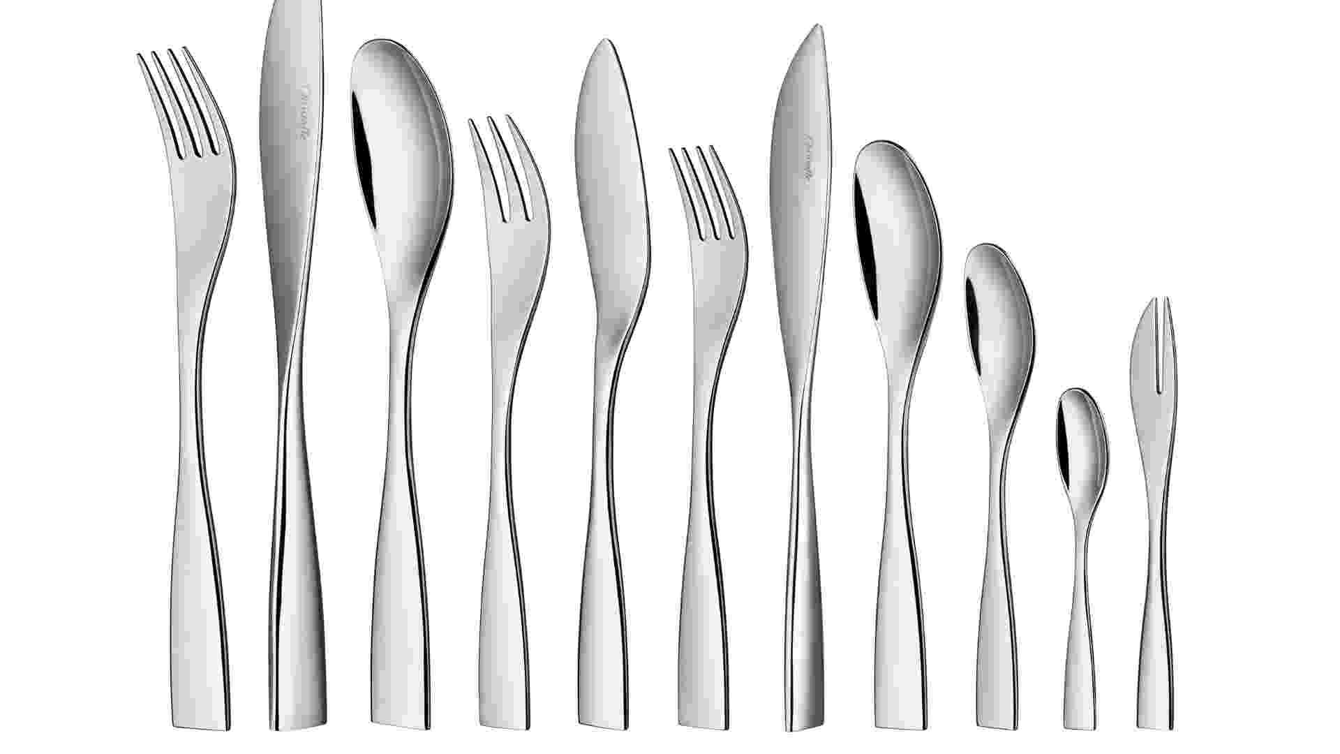 Do designer Claudio Colucci, o faqueiro da marca francesa Christofle é feito de aço inox. O conjunto com 48 peças custa R$ 2.900 na Christofle Brasil (11 3864-4288). Preços pesquisados em julho de 2012 e sujeitos a alterações - Divulgação
