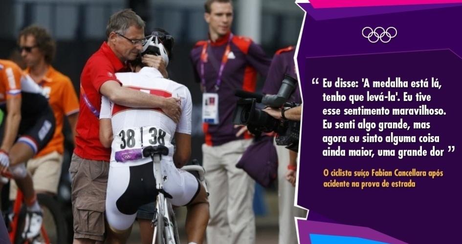 """""""Eu disse: 'A medalha está lá, tenho que levá-la'. Eu tive esse sentimento maravilhoso. Eu senti algo grande, mas agora eu sinto alguma coisa ainda maior, uma grande dor"""" - O ciclista suíço Fabian Cancellara após acidente na prova de estrada"""