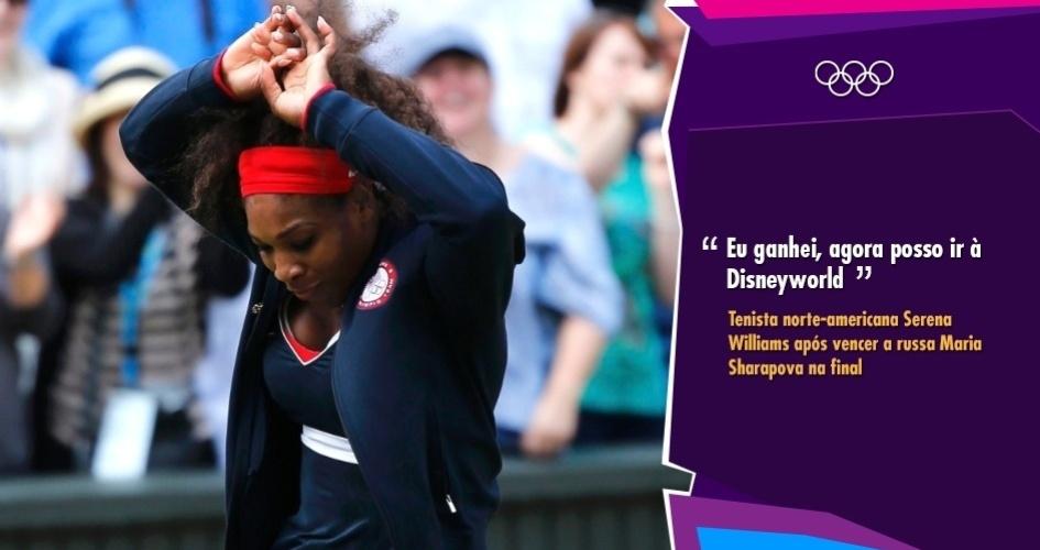 """""""Eu ganhei, agora posso ir à Disneyworld"""" - Tenista norte-americana Serena Williams após vencer a russa Maria Sharapova na final"""