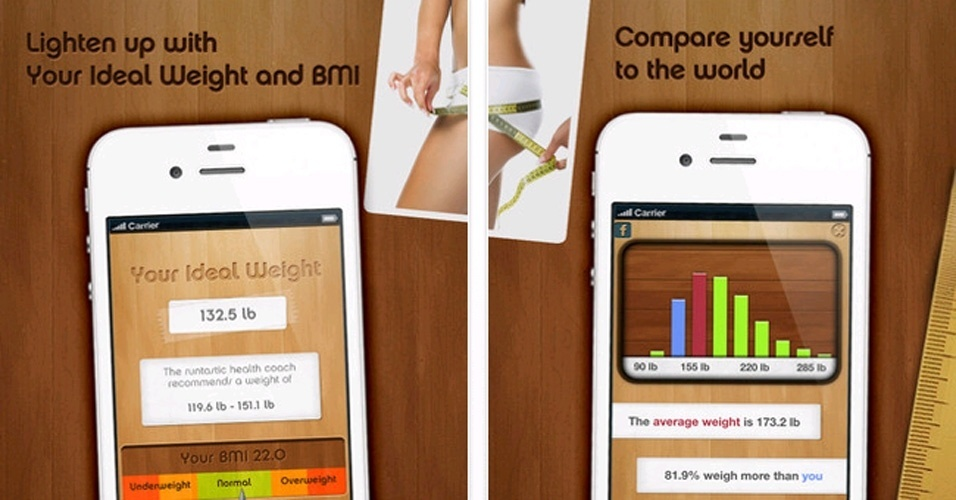 O Your Ideal Weight and BMI coleta informações e faz o cálculo do que é considerado adequado pelos médicos