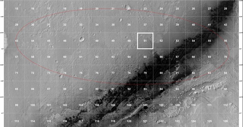 10.ago.2012 - A imagem mostra o contexto geológico do local previso para o pouso do Curiosity. O jipê-robo desceu ao solo na área 51 do mapa