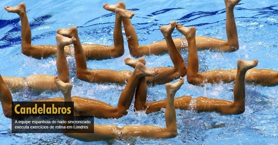 A equipe espanhola do nado sincronizado executa exercícios de rotina em Londres