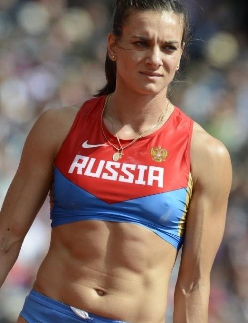 A musa russa Yelena Isinbayeva exibiu todo o seu belo corpo na disputa do salto com vara em Londres, prova em que terminou com a medalha de bronze