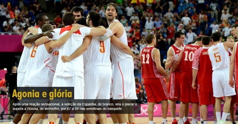 Após uma reação sensacional, a seleção da Espanha, de branco, vira o placar e supera a Rússia, de vermelho, por 67 a 59 nas semifinais do basquete