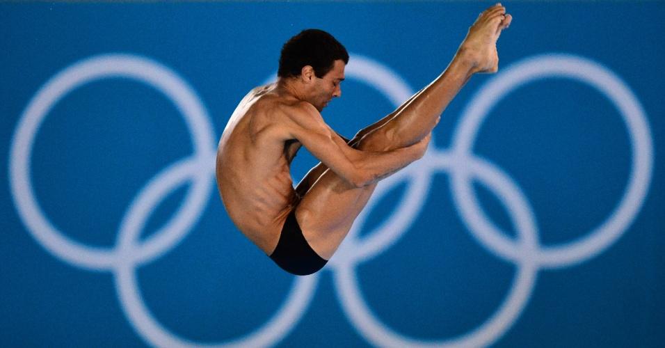 Brasileiro Hugo Parisi se apresenta nas eliminatórias da plataforma de 10 m dos saltos ornamentais (10/08/2012)