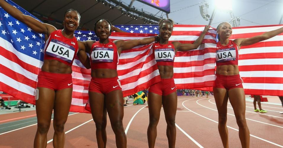 Campeãs do revezamento 4x400 m rasos, as norte-americanas Carmelita Jeter, Bianca Knight, Allyson Felix e Tianna Madison foram campeãs também no quesito barriga definida