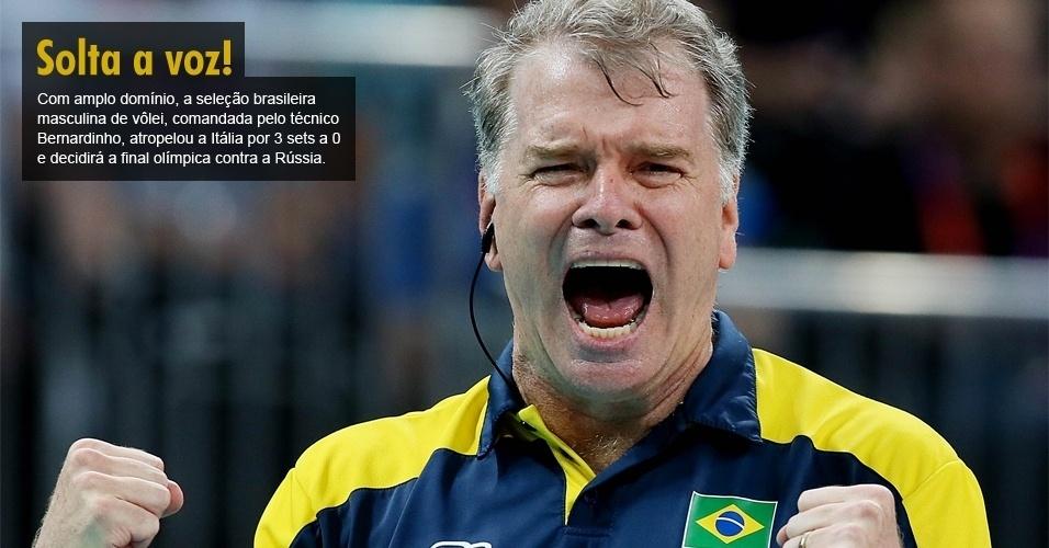 Com amplo domínio, a seleção brasileira masculina de vôlei, comandada pelo técnico Bernardinho, atropelou a Itália por 3 sets a 0 e decidirá a final olímpica contra a Rússia.