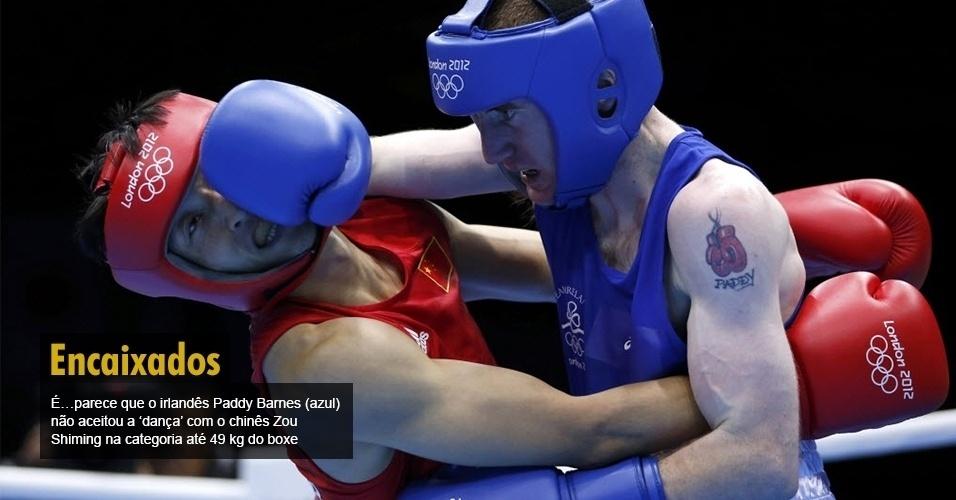 É?parece que o irlandês Paddy Barnes (azul) não aceitou a ?dança? com o chinês Zou Shiming na categoria até 49 kg do boxe