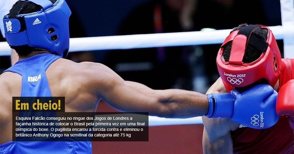 Esquiva Falcão conseguiu no ringue dos Jogos de Londres a façanha histórica de colocar o Brasil pela primeira vez em uma final olímpica do boxe. O pugilista encarou a torcida contra e eliminou o britânico Anthony Ogogo na semifinal da categoria até 75 kg