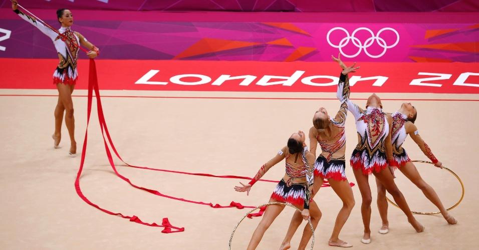 Italianas terminaram as eliminatórias de conjunto da ginástica rítmica na segunda colocação