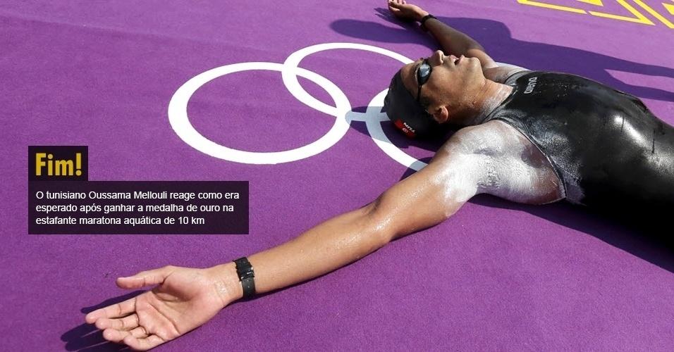O tunisiano Oussama Mellouli reage como era esperado após ganhar a medalha de ouro na estafante maratona aquática de 10 km