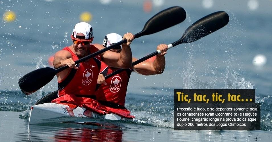 Precisão é tudo, e se depender somente dela os canadenses Ryan Cochrane (e) e Hugues Fournel chegarão longe na prova do caiaque duplo 200 metros dos Jogos Olímpicos