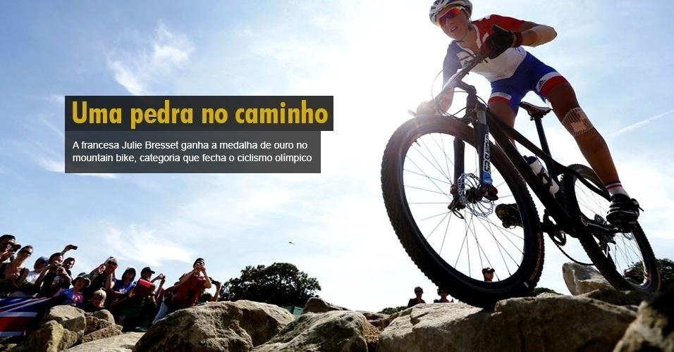 A francesa Julie Bresset ganha a medalha de ouro no mountain bike, categoria que fecha o ciclismo olímpico