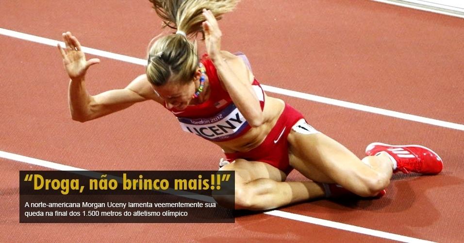 A norte-americana Morgan Uceny lamenta veementemente sua queda na final dos 1.500 metros do atletismo olímpico.