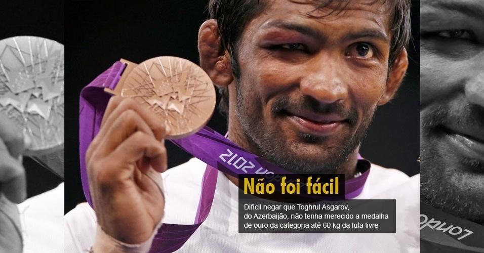 Difícil negar que Toghrul Asgarov, do Azerbaijão, não tenha merecido a medalha de ouro da categoria até 60 kg da luta livre