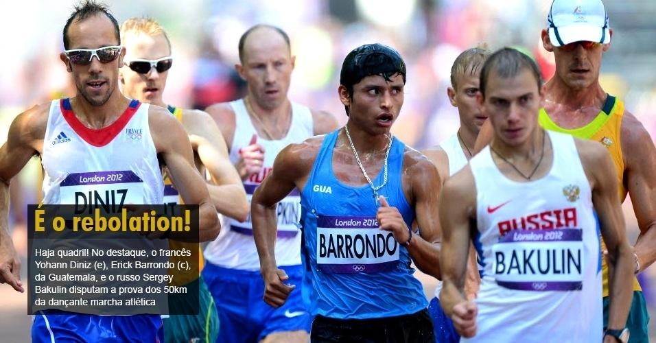 Haja quadril! No destaque, o francês Yohann Diniz (e), Erick Barrondo (c), da Guatemala, e o russo Sergey Bakulin disputam a prova dos 50km da dançante marcha atlética