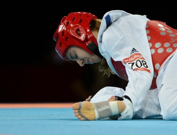 Logo na sua estreia em Londres, Natália Falavigna sofreu uma fratura no pé e perdeu para para a coreana