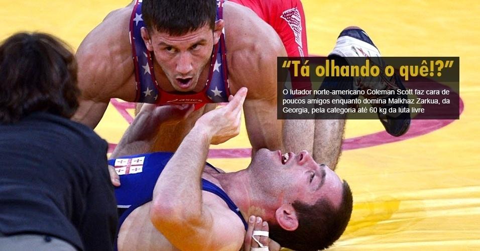 O lutador norte-americano Coleman Scott faz cara de poucos amigos enquanto domina Malkhaz Zarkua, da Georgia, pela categoria até 60 kg da luta livre