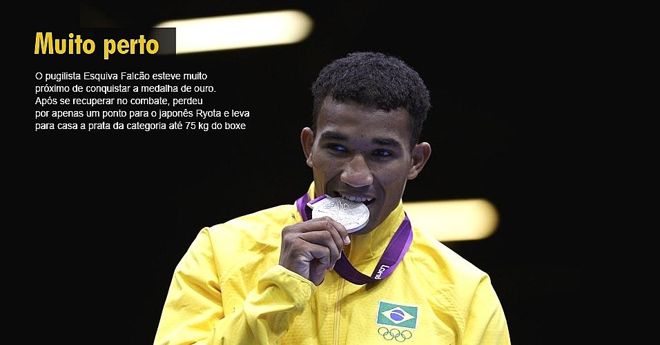 O pugilista Esquiva Falcão esteve muito próximo de conquistar a medalha de ouro. Após se recuperar no combate, perdeu por apenas um ponto para o japonês Ryota e leva para casa a prata da categoria até 75 kg do boxe