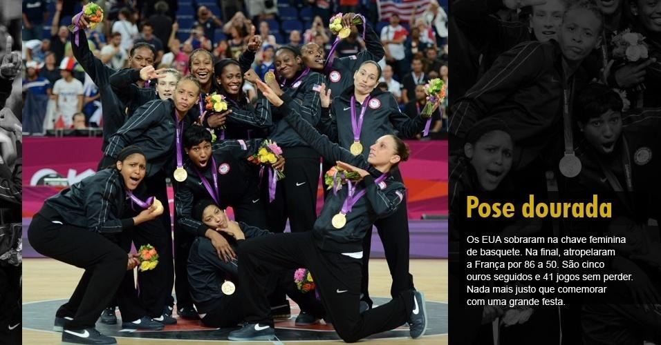 Os EUA sobraram na chave feminina de basquete. Na final, atropelaram a França por 86 a 50. São cinco ouros seguidos e 41 jogos sem perder. Nada mais justo que comemorar com uma grande festa.