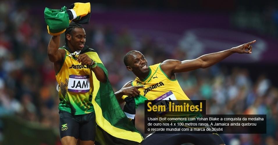 Usain Bolt comemora com Yohan Blake a conquista da medalha de ouro nos 4 x 100 metros rasos. A Jamaica ainda quebrou o recorde mundial com a marca de 36s84