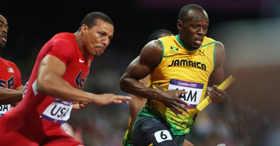 Usain Bolt (dir) teve a missão de fechar o revezamento 4x100 da Jamaica