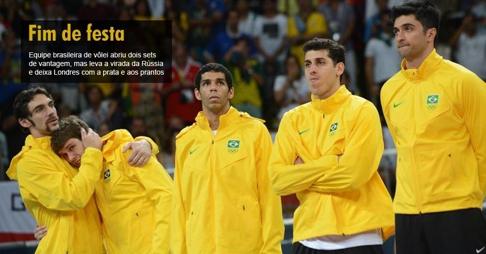 Equipe brasileira de vôlei abriu dois sets de vantagem, mas leva a virada da Rússia e deixa Londres com a prata e aos prantos