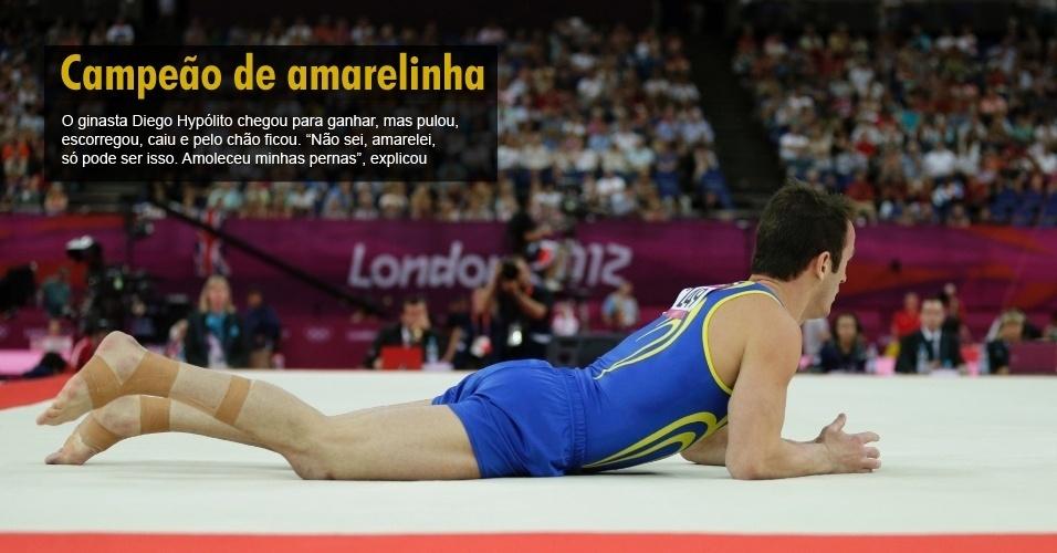 O ginasta Diego Hypólito chegou para ganhar, mas pulou, escorregou, caiu e pelo chão ficou. ¿Não sei, amarelei, só pode ser isso. Amoleceu minhas pernas¿, explicou