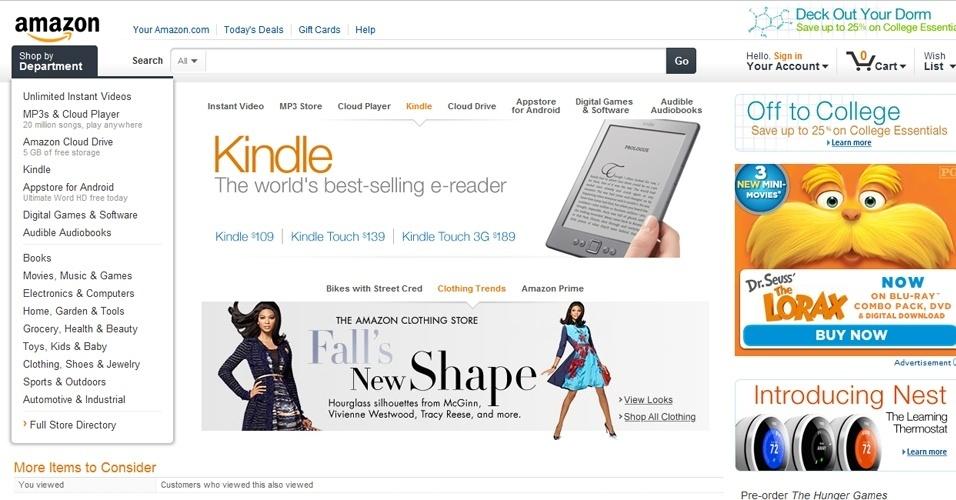 10º - Amazon.com: Um dos maiores sites de comércio eletrônico, subiu cinco posições em relação ao ranking dos sites mais populares de 2011. Segundo o levantamento da Alexa, o Amazon.com tem 5,19% das visitas de internautas no mundo. Em média, os usuários gastam dez minutos navegando no site