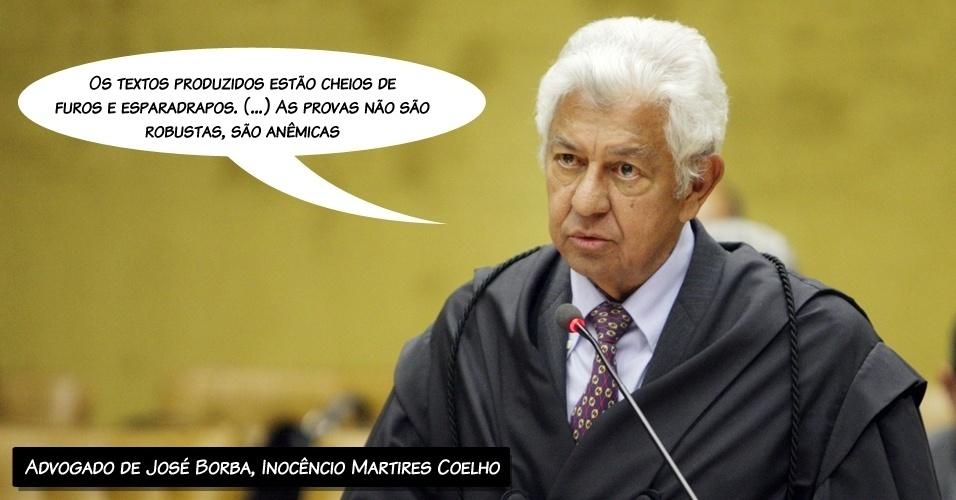 """13.ago.2012 - """"Os textos produzidos estão cheios de furos e esparadrapos. (...) As provas não são robustas, são anêmicas"""", alegou o advogado de José Borba, Inocêncio Martires Coelho, ao criticar a denúncia da Procuradoria"""