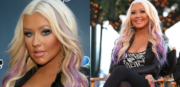 Christina Aguilera fez mechas roxas nos cabelos (12/8/12)