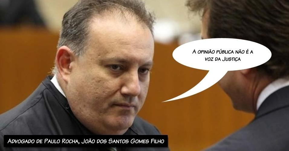 """14.ago.2012 - """"A opinião pública não é a voz da Justiça"""", disse o advogado do ex-deputado Paulo Rocha, João dos Santos Gomes Filho, pedindo a absolvição de seu cliente"""