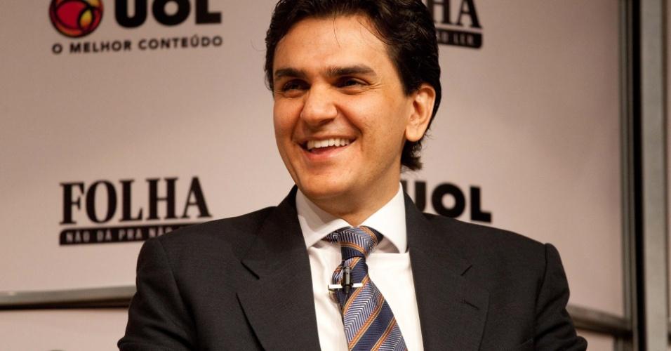 14.ago.2012 - O candidato a prefeitura de São Paulo pelo PMDB, Gabriel Chalita, durante sabatina realizada pela Folha no Teatro Cultura Artística, na capital paulista