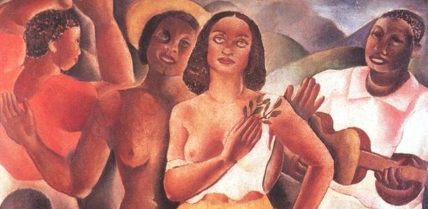 """O óleo """"Samba"""" (1925), de Emiliano Di Cavalcanti, faz parte da coleção do marchand Jean Boghici. Nesta segunda-feira (13), um incêndio atingiu o apartamento de Jean e pode ter destruído esta e outras obras - Reprodução"""