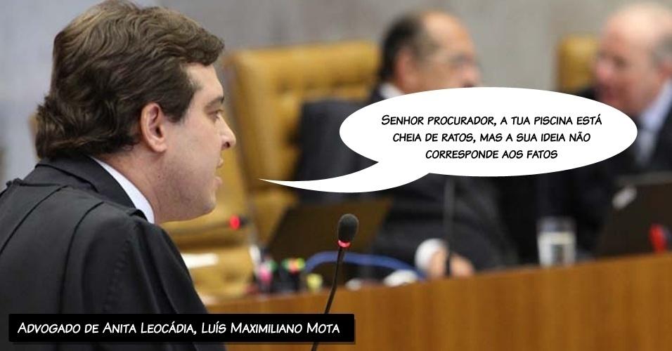 """14.ago.2012 - """"Senhor procurador, a tua piscina está cheia de ratos, mas a sua ideia não corresponde aos fatos"""", disse o advogado de Anita Leocádia, Luís Maximiliano Mota, citando o cantor Cazuza"""