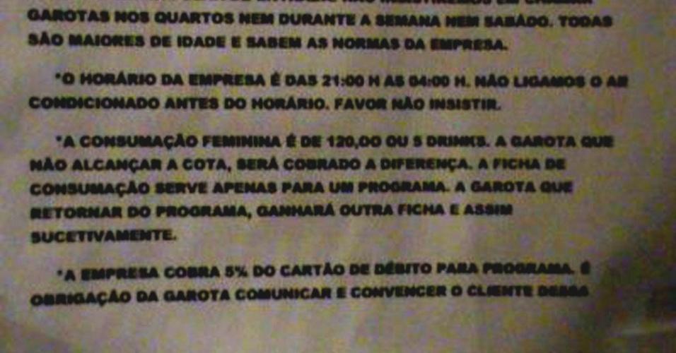 """Panfleto encontrado pela polícia no suposto prostíbulo em Teresina traz as """"regras"""" que as garotas deveriam seguir para usar o local"""