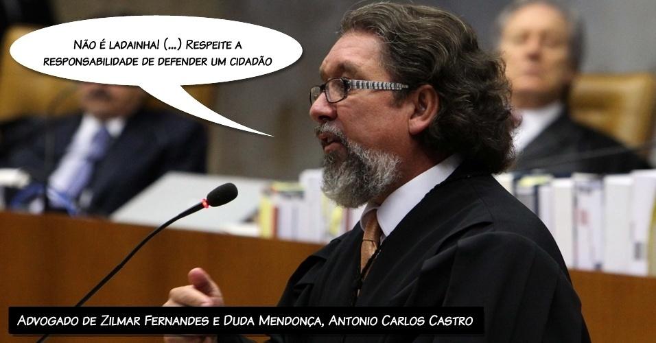 """15.ago.2012 - """"Não é ladainha! (...) Respeite a responsabilidade de defender um cidadão"""", disse o advogado de Zilmar Fernandes e Duda Mendonça, Antonio Carlos Castro, criticando a fala do procurador-geral, Roberto Gurgel"""