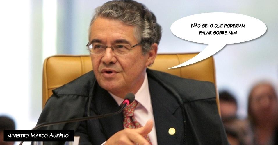 """15.ago.2012 - """"Não sei o que poderiam falar sobre mim"""", brincou o ministro Marco Aurélio ao comentar a fala de Joaquim Barbosa, que reclamou de críticas de advogados dos réus"""
