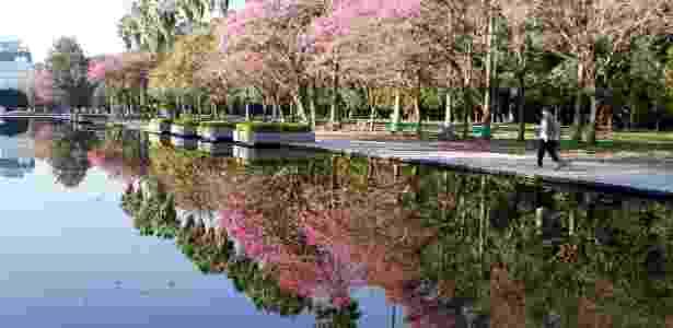 16.ago.2012 - Árvores são refletidas pela água de lago no parque da Redenção, em Porto Alegre (RS), nesta quinta-feira (16)   - Wesley Santos/Futura Press - Wesley Santos/Futura Press