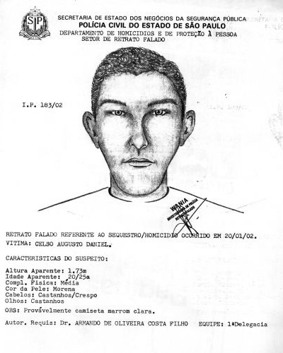 16.ago.2012 - O retrato falado de um dos sequestradores de Celso Daniel, feito com base nas informações do empresário Sérgio Gomes da Silva, que estava com ex-prefeito na noite do sequestro