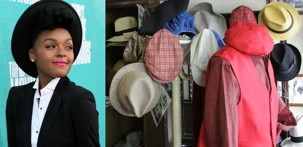A cantora Janelle Monáe é adepta dos chapéus; à direita, diversos modelos do acessório na loja Plas, em São Paulo  - Getty Images / Fernando Donasci/UOL