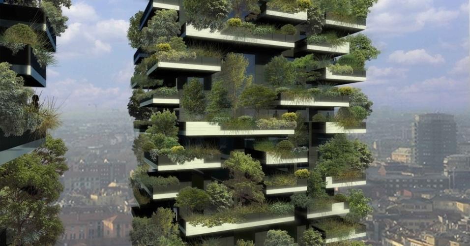Bosque vertical é como vem sendo chamado esse edifício projetado pelo estúdio Boeri, atualmente em construção no centro de Milão (Itália). A fachada das duas torres residenciais abrigará árvores de 3 m a 9 m de altura, além de arbustos e espécies florais