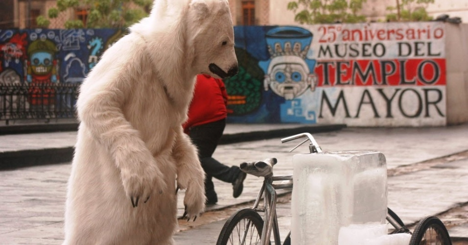 20.ago.2012 - Ativista do Greenpeace se fantasia de urso polar na praça Zócalo, na Cidade do México, em protesto contra a perfuração do Ártico. A busca por petróleo, alerta a organização, traz sérios riscos para a diminuição das calotas de gelo e para as espécies que vivem no polo