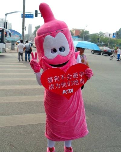 """20.ago.2012 - Ativista do Peta, ONG a favor dos direitos dos animais, vestido como uma 'camisinha gigante' protesta em Beijing, na China. Na placa em formato de coração se lê: """"Cachorros e gatos não pode usar camisinha. Castre e neutralize"""". A China é um dos países com o maior número de cães abandonados nas ruas"""
