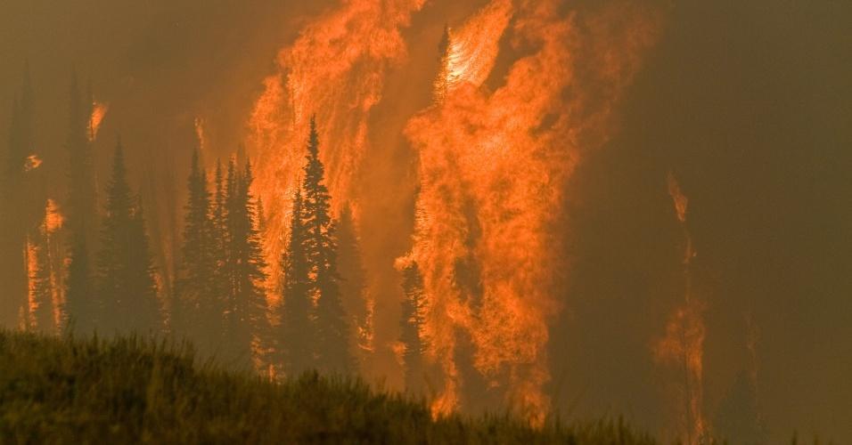 20.ago.2012 - Incêndio atinge floresta perto de Featherville, no Estado de Idaho, nos Estados Unidos
