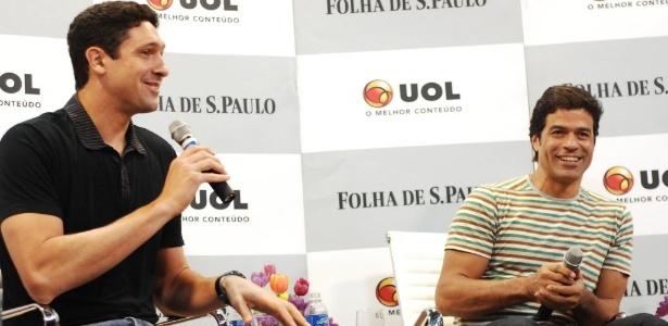 Gustavo Borges e Raí, durante a Roda da Folhinha, conversaram com jornalistas e crianças