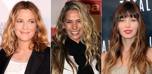 """Drew Barrymore, Adriane Galisteu e Jessica Biel exibem o cabelo cacheado estilo """"garota de praia""""  - Getty Images/AG News"""