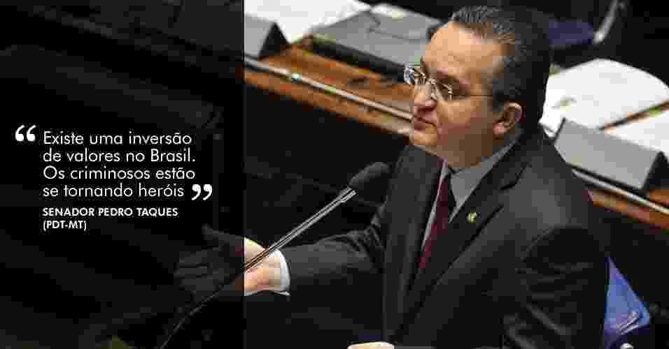 """21.ago.2012 - """"Existe uma inversão de valores no Brasil. Os criminosos estão se tornando heróis"""", disse o senador Pedro Taques (PDT-MT) durante sessão da CPI que ouviu dois procuradores - Antonio Cruz/Agência Brasil"""