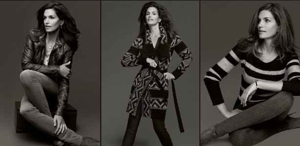 Aos 46 anos de idade, Cindy Crawford estrela a campanha da coleção que fez em parceria com a C&A - Divulgação