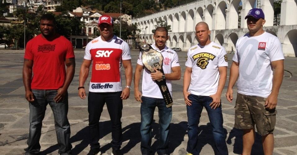 Rampage, Vitor Belfort, José Aldo, Erik Koch e Glover Teixeira posam para foto nos Arcos da Lapa (RJ)